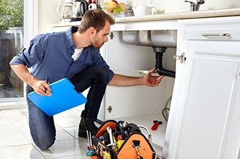 plumber inspecting a sink