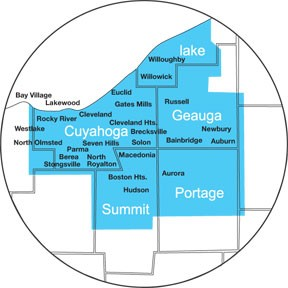 All of Cuyahoga County, Parts of Geauga, Summit, Portage, Medina, Lorain Counties