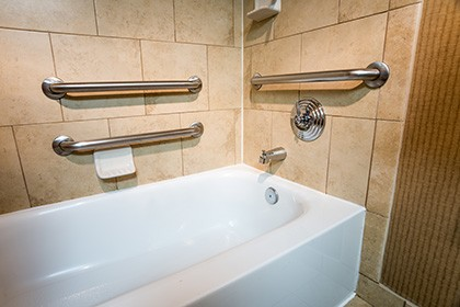 tub with grab bars